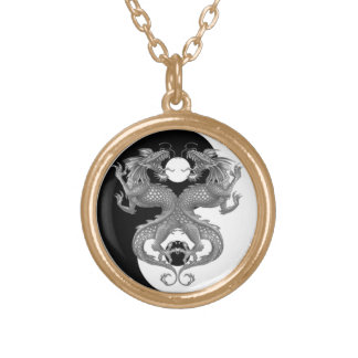 Yin Yang Dragons Round Pendant Necklace