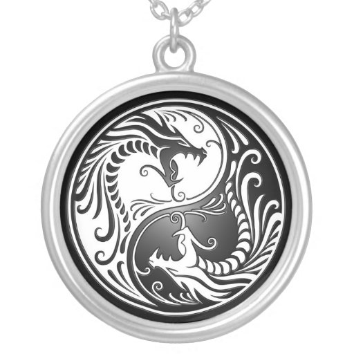 Yin Yang Dragons Round Pendant Necklace
