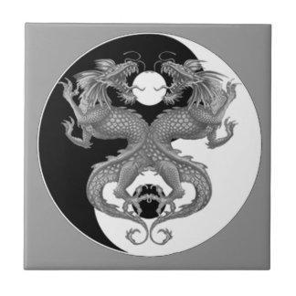 Yin Yang Dragons Small Square Tile