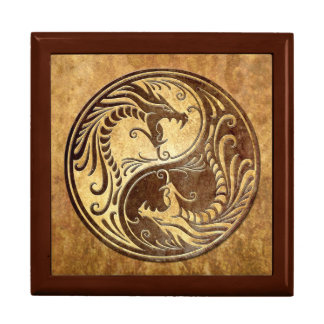 Yin Yang Dragons, stone Large Square Gift Box