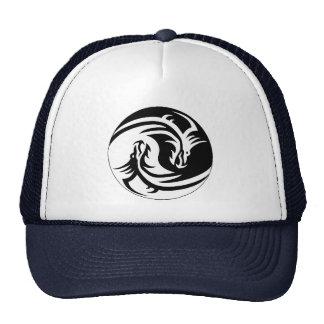 yin-yang dragons tribal pattern black and white cap