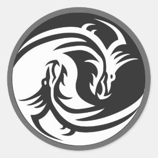 Yin Yang Dragons Tribal Tattoo Design Stickers