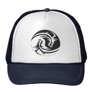 Yin Yang Dragons Tribal Tattoo Design Trucker hat