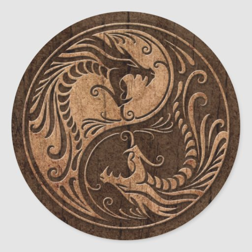 Yin Yang Dragons with Wood Grain Effect Round Sticker
