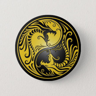 Yin Yang Dragons, yellow and black 6 Cm Round Badge