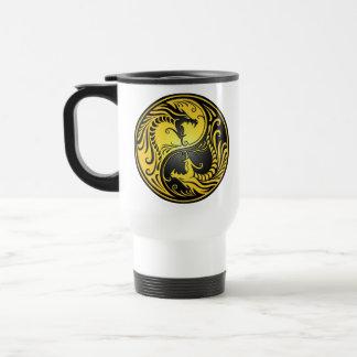 Yin Yang Dragons, yellow and black Mug