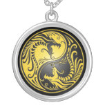 Yin Yang Dragons, yellow and black Necklaces