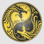 Yin Yang Dragons, yellow and black Round Stickers