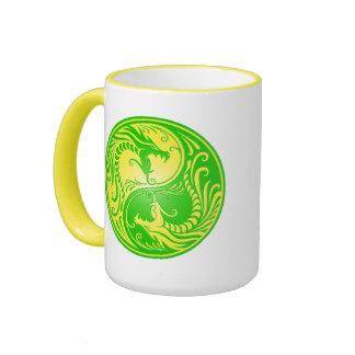 Yin Yang Dragons, yellow and green Coffee Mug