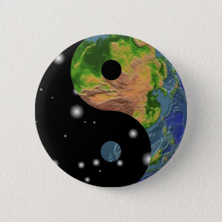 Yin Yang Earth 6 Cm Round Badge
