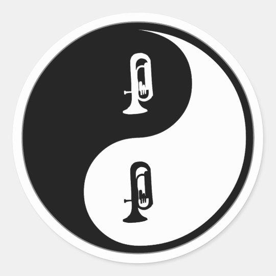 Yin Yang Euphonium Classic Round Sticker