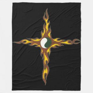 Yin Yang Fire Cross Fleece Blanket