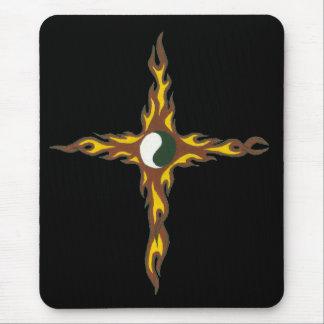 Yin Yang Fire Cross Mouse Pad