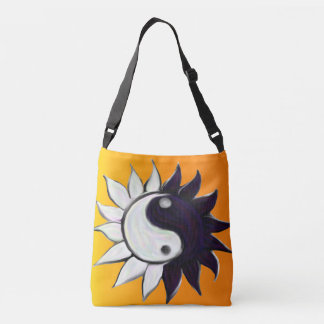 Yin-Yang Flower with Yellow to Orange Background Crossbody Bag