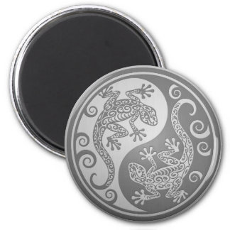 Yin Yang Geckos, Stainless Steel Effect 6 Cm Round Magnet