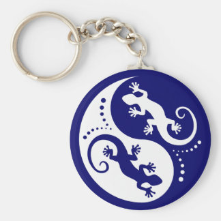 YIN & YANG Geckos white + your idea Basic Round Button Key Ring