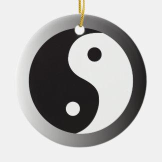 Yin Yang gradaint gray ring Round Ceramic Decoration