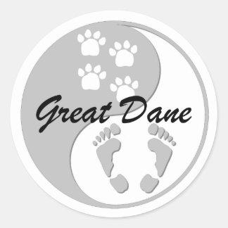yin yang great dane classic round sticker