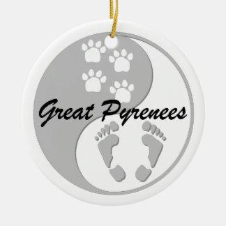 yin yang great pyrenees christmas ornament