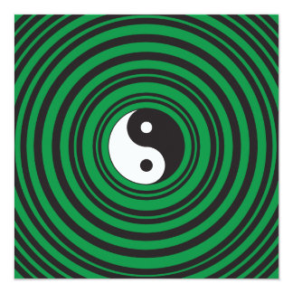 Yin Yang Green Concentric Circles Ripples Rings 13 Cm X 13 Cm Square Invitation Card