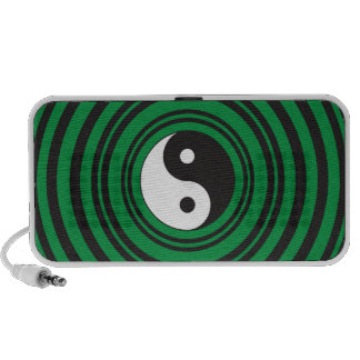 Yin Yang Green Concentric Circles Ripples Rings Mp3 Speakers