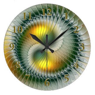 Yin Yang Green Yellow Abstract Colorful Fractal Clocks