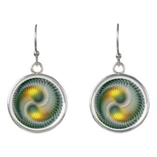 Yin Yang Green Yellow Abstract Colorful Fractal Earrings