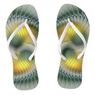 Yin Yang Green Yellow Abstract Colorful Fractal Flip Flops