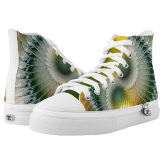Yin Yang Green Yellow Abstract Colorful Fractal High Tops