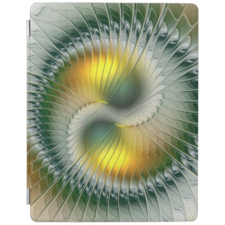 Yin Yang Green Yellow Abstract Colorful Fractal iPad Cover