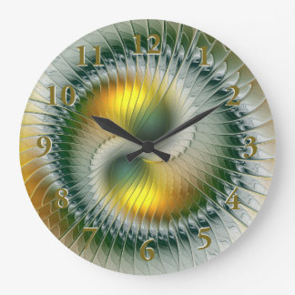 Yin Yang Green Yellow Abstract Colorful Fractal Large Clock