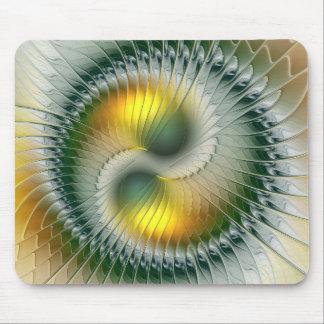 Yin Yang Green Yellow Abstract Colorful Fractal Mouse Pad