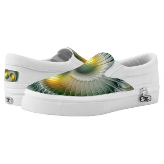Yin Yang Green Yellow Abstract Colorful Fractal Slip-On Shoes