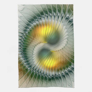 Yin Yang Green Yellow Abstract Colorful Fractal Tea Towel