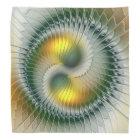 Yin Yang Green Yellow Abstract Colourful Fractal Bandana