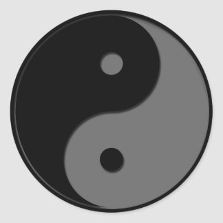 Yin Yang - grey 1 Round Sticker
