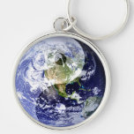 Yin-Yang Harmony on Our Planet Silver-Colored Round Key Ring