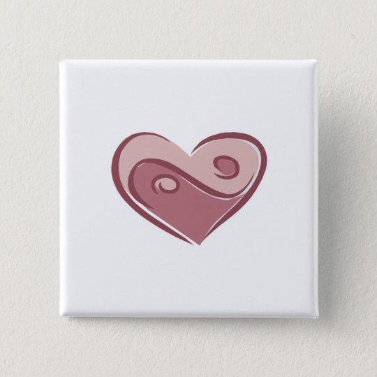 yin yang heart 15 cm square badge