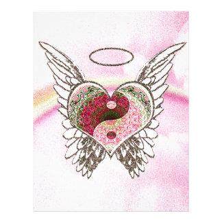 Yin Yang Heart Angel Wings Watercolor 21.5 Cm X 28 Cm Flyer
