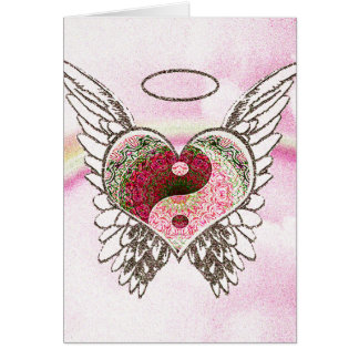 Yin Yang Heart Angel Wings Watercolor Card
