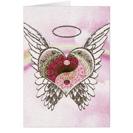 Yin Yang Heart Angel Wings Watercolor Card