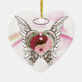 Yin Yang Heart Angel Wings Watercolor Ceramic Heart Decoration