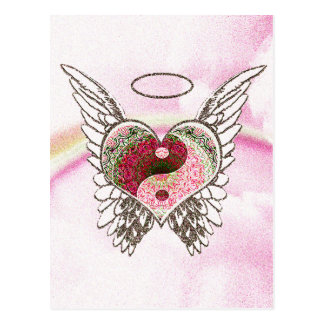 Yin Yang Heart Angel Wings Watercolor Postcard
