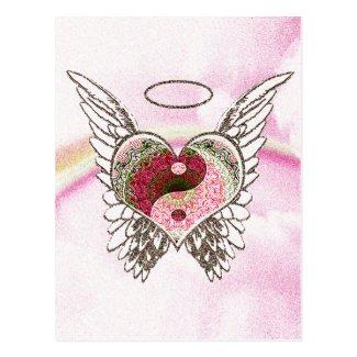 Yin Yang Heart Angel Wings Watercolor Postcard