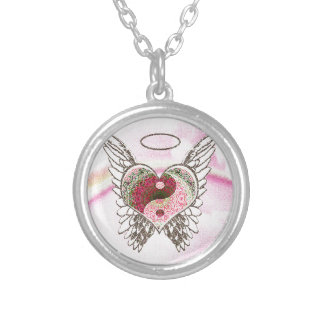 Yin Yang Heart Angel Wings Watercolor Silver Plated Necklace