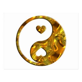 Yin & Yang / Hearts gold Postcard