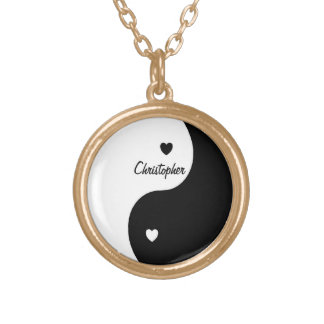 Yin Yang Hearts Just Add Name Round Pendant Necklace