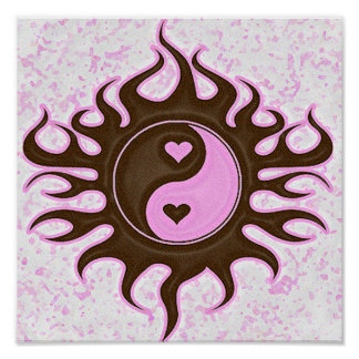 Yin Yang Hearts Print