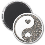 Yin & Yang / Hearts SILVER 6 Cm Round Magnet