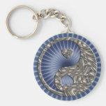 Yin & Yang / Hearts SILVER Key Chain